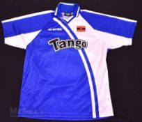 2001/03 Barry Town Away football shirt size XXL, in white and blue, Errea, short sleeve