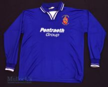 c2000s Bangor City FC Home football shirt size M/L in blue, Ffigar, long sleeve