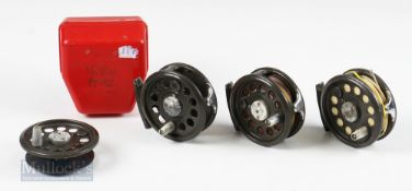 3 x K P Moritts Intrepid Super Fly reels 3 ¼ plus 1 plastic case and spare spool all runs free