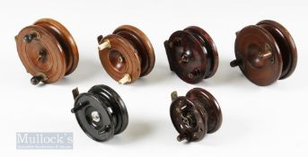 """6x Mixed Fishing Reels – Eaton Sun brass star back Nottingham style 4 ½"""" reel, with another"""