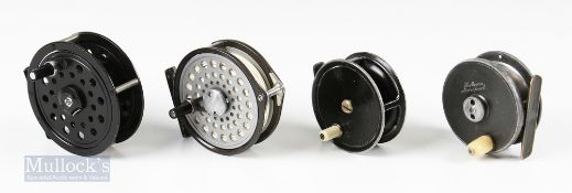 """4x Reels – Malloch's Patent 3"""" Fly Reel with white handle, drag adjuster, engraved name to front H"""