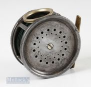 """Scarce Hardy Perfect 4 ¼"""" Wide Drum 1912 Check Eunuch Salmon Fly Reel with rotating line guide"""