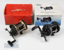 Fladen Chieftain 30 Trolling Reel appears unused with original box, together with Red Wolf Sea 300