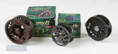"""2x Quantum Fly Fishing Reels – QFR78 LA large arbor 4 ¾"""" and a QFR56 3 ¼"""" reel, both with"""