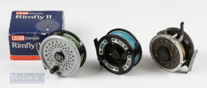 """Greys GRXI 3 ½"""" 5/6 fly reel runs well with some signs surface wear, Leeda Intrepid 11 3 ½"""" fly reel"""