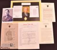 Autograph - Dwight Eisenhower (1890-1969) Signed Typed Dinner Menu signed to the bottom in blue ink,