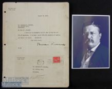 Autograph - Theodore Roosevelt (1858-1919) Signed Typed Letter dated 23 Aug 1919 with original