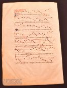 Great Britain – Antiphona Sheet Music Circa 1400-1440 large, impressive sheet of Choral music with