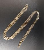 NINE CARAT GOLD FANCY CURB LINK NECK CHAIN 46cm long and approximately 2.9 grams