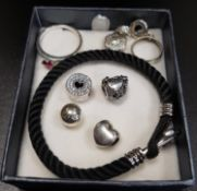 SELECTION OF PANDORA AND OTHER FASHION JEWELLERY comprising a Pandora Sparkling Red Heart ring, four