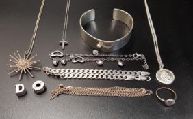 SELECTION OF SILVER JEWELLERY including a silver bangle, a curb link bracelet, a pave set ring, a