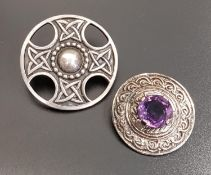JOHN HART IONA SILVER BROOCH the circular brooch with pierced and Celtic knot decoration,