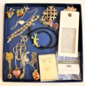SELECTION OF SILVER AND OTHER JEWELLERY including a pair of heart shaped millefiori glass earrings
