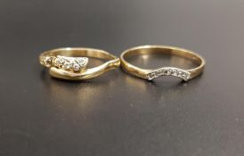 DIAMOND SET NINE CARAT GOLD RING the small diamonds in curved setting, ring size X and approximately