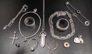 SELECTION OF SILVER AND OTHER FASHION JEWELLERY including a Swarovski Remix bracelet, a Pandora Rose