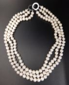 TRIPLE STRAND PEARL NECKLACE approximately 35cm long