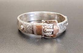 VICTORIAN STYLE SILVER BUCKLE STYLE BANGLE with engraved scroll decoration, Birmingham 1968