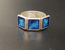 DAVID ANDERSEN ENAMEL DECORATED RING the Norwegian silver ring with three square blue enamel