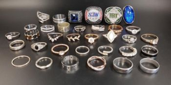 SELECTION OF SILVER AND OTHER RINGS including two heavy college style sporting rings, enamel and