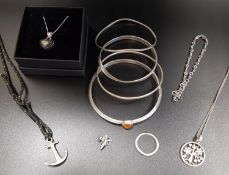 SELECTION OF SILVER JEWELLERY comprising a Pandora Sparkling Family Tree necklace on long silver