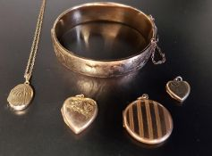 SELECTION OF GOLD PLATED JEWELLERY comprising a hinged bangle with engraved scroll decoration, two
