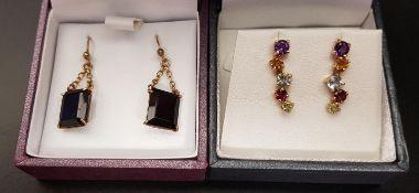 TWO PAIRS OF GEM SET EARRINGS one pair set with amethyst, citrine, aquamarine, garnet and peridot in