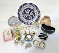 SELECTION OF DECORATIVE CERAMICS including a a Plichta cat (filled with salt, tea, sand or similar),