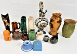 MIXED LOT OF CERAMICS including a West German mottled vase, two fish shaped water jugs, Wade Heath