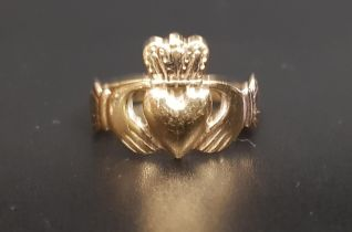 NINE CARAT GOLD CLADDAGH RING ring size P and approximately 3 grams