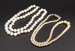 GRADUATED PEARL NECKLACE with marcasite set silver clasp, 41.2cm long; together with another