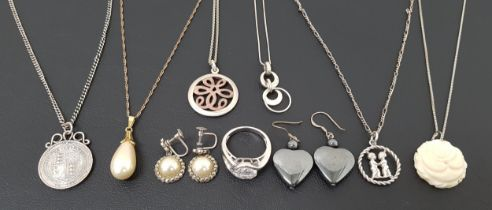 SELECTION OF SILVER AND SILVER MOUNTED JEWELLERY including various silver pendants on chains; a CZ