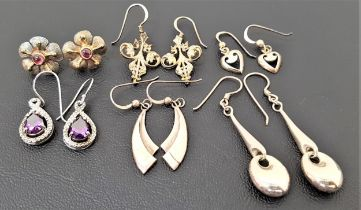 SIX PAIRS OF SILVER EARRINGS including a pair of purple CZ set drop earrings, a pair of cabochon gem