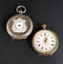 TWO CONTINENTAL SILVER FOB WATCHES one of unusual half hunter style with shield shaped shaped