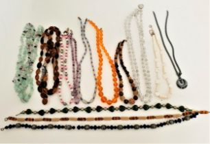 INTERESTING SELECTION OF VINTAGE BEAD NECKLACES including crystal, haematite, amber coloured,