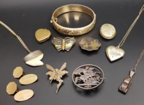 SELECTION OF VINTAGE JEWELLERY including a gold plated bangle with engraved scroll decoration and