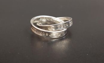 TIFFANY & CO. SILVER INTERLOCKING CIRCLES RING from the Tiffany 1837 collection, ring size L
