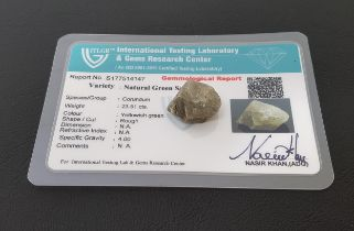 CERTIFIED LOOSE NATURAL GREEN SAPPHIRE the rough cut sapphire weighing 23.51cts, with ITLGR,
