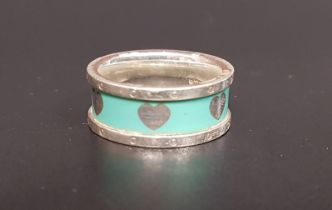 TIFFANY AND CO, SILVER AND ENAMEL LOVE HEART RING the turquoise enamel band decorated with silver