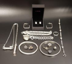 SELECTION OF SILVER JEWELLERY including a Pandora Sparkling Angel Wings ring, a pair of Pandora