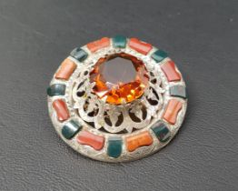 ATTRACTIVE CAIRNCORM AND STONE SET PLAID BROOCH the central round cut Cairngorn surrounded by