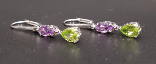 PAIR OF AMETHYST AND PERIDOT DROP EARRINGS each set with a marquise amethyst above a pear cut