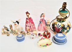 MIXED LOT OF CERAMICS including Royal doulton figurines A Victorian Lady, HN727, May Time, HN2113