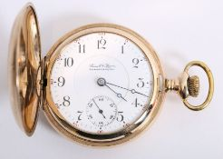A gilt cased pocket watch by Illinois Watch Co.