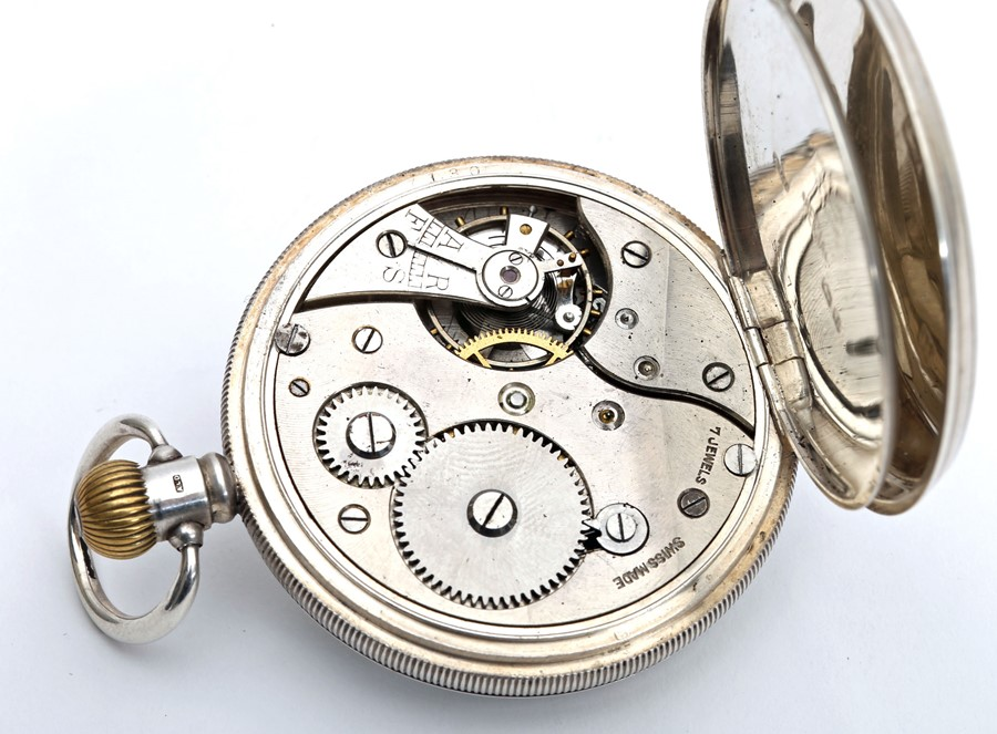 1920s silver-cased Swiss pocket watch. - Image 2 of 4