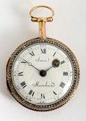 Louis XV diamond-set gold cased ladies' pocket watch