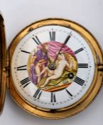 Early 19th century pocket watch with erotically painted dial