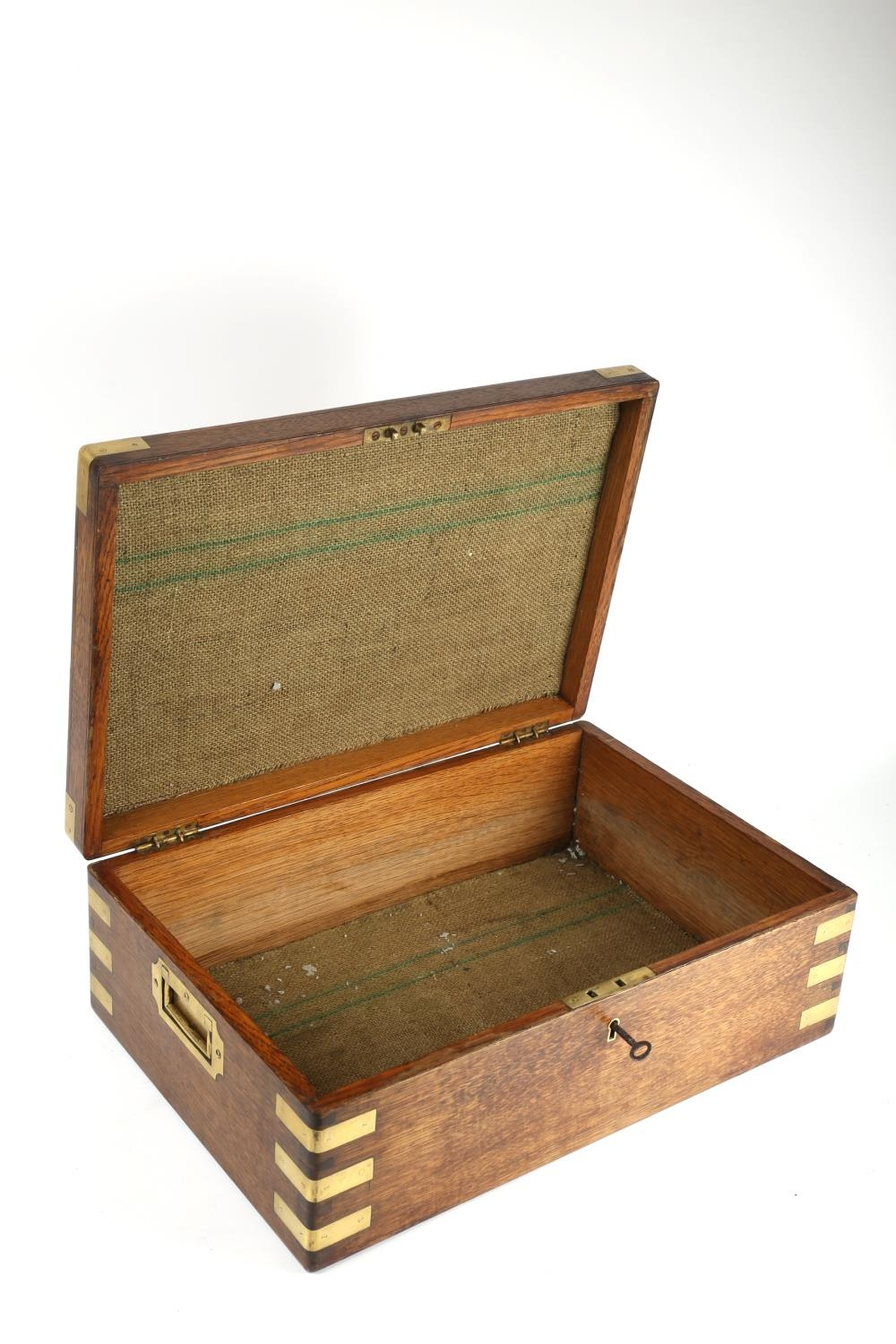 A 19th century brass-bound, oak military box, with recessed handles, the lid inset with a brass - Image 2 of 2