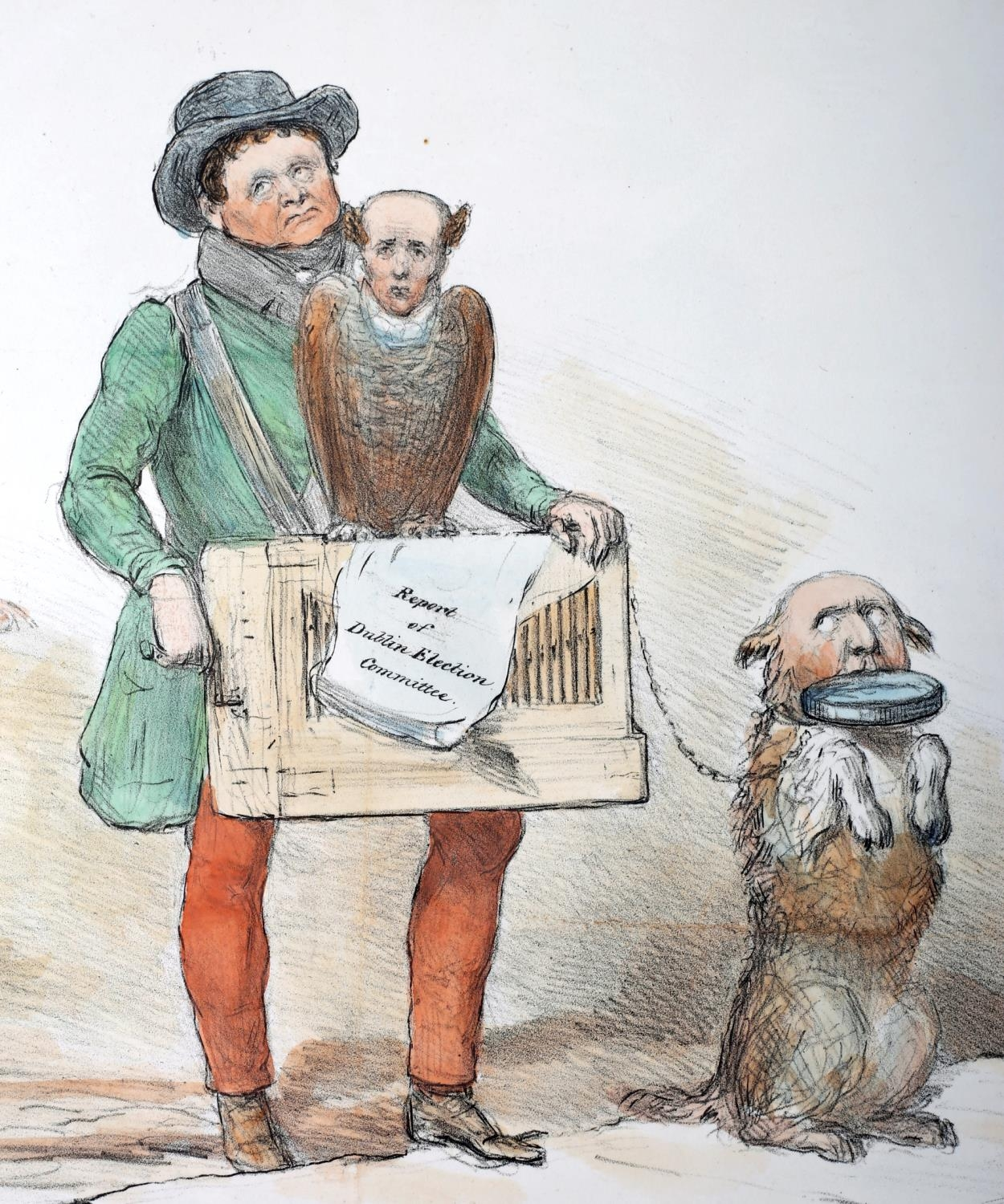 1834-36 Daniel O'Connell, four cartoons featuring the Liberator. Includes O'Connell as a large green