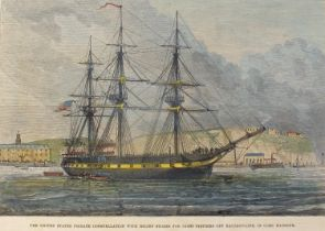"""1880s and 1890s scenes of Irish life, hand-coloured engravings, """"The United States Frigate"""