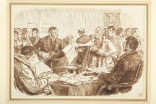 "Charles Samuel Keene (1823-1891) English. Scene in an Irish Land Court. Pen and ink, 7"" x 10"" (18 x"